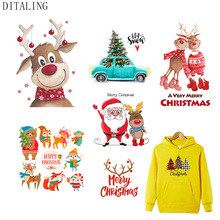 Christmas-Patch Sticker T-Shirt Clothing Iron-On transfers Deer for DIY Washable Santa-Claus