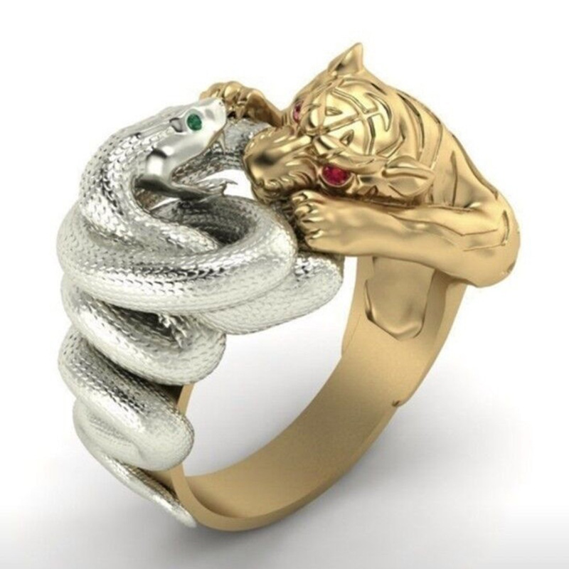 bague /à texture tendance pour femme Bague /à motif serpent /à deux t/êtes