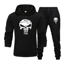 Tracksuit Men Hoodies Sportswear Skull Male Running Winter 2pieces-Sets Brand Pants Autumn