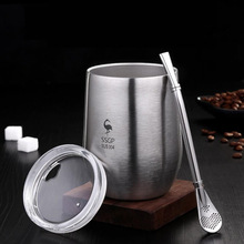 304-Stainless-Steel Cup Tea-Mug Beer-Cup Straw-377ml Heat-Resistant Double-Wall Portable