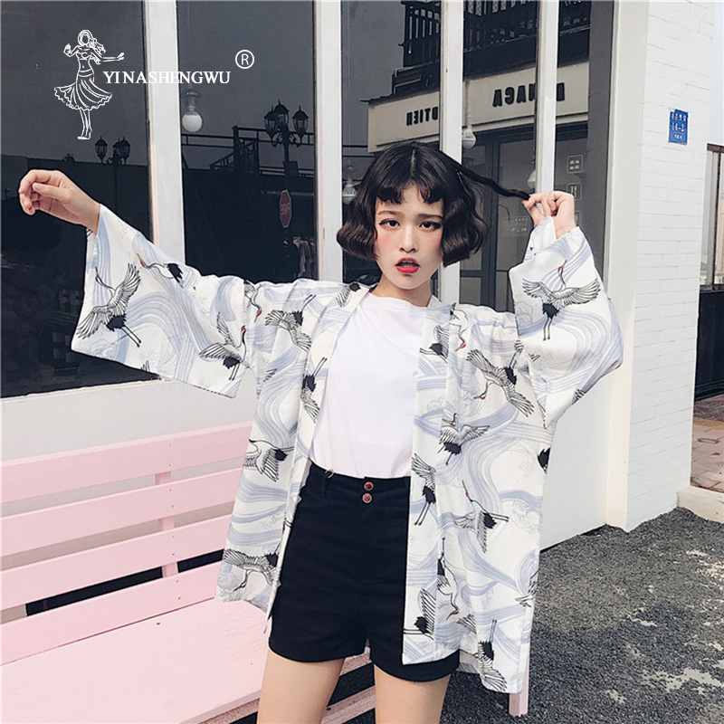 Harajuku Kimono Cardigan Cosplay Costumes Yukata Asia Summer Japanese Style Casual Printed Chiffon Kimono Femme Sunscreen Blouse