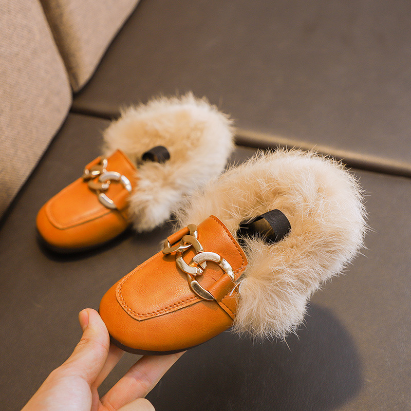 JGVIKOTO Brand Autumn Winter Girls Shoes Warm Cotton Plush Fluffy Fur Kids Loafers With Metal Chain Boys Flats Children Loafers