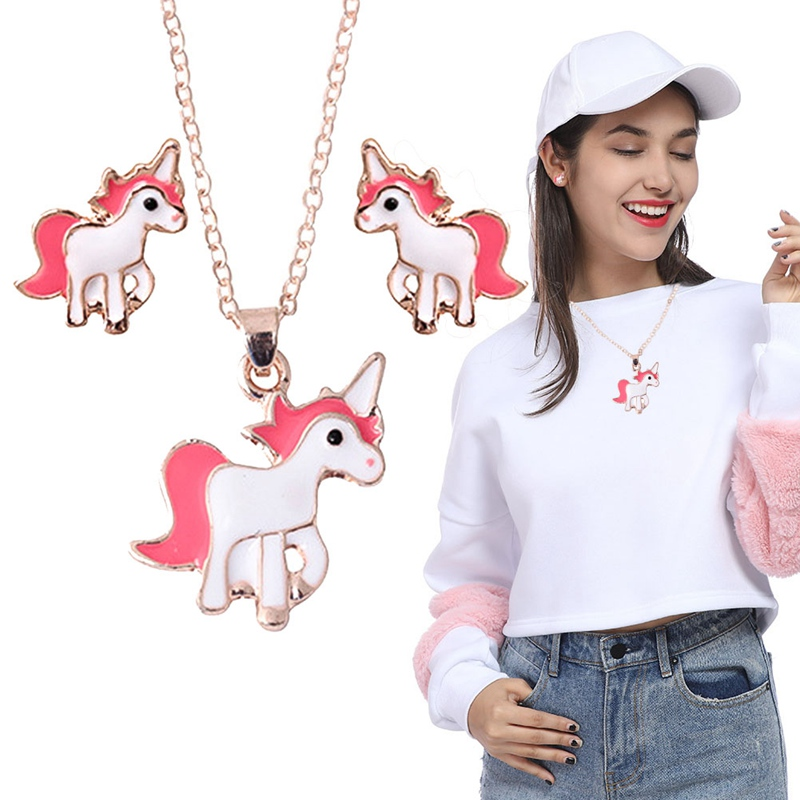 Animal Jewelry Set Chain Kids Jewelry Cartoon Horse Unicorn Necklace Earring Jewelry Sets For Girls Best Gifts