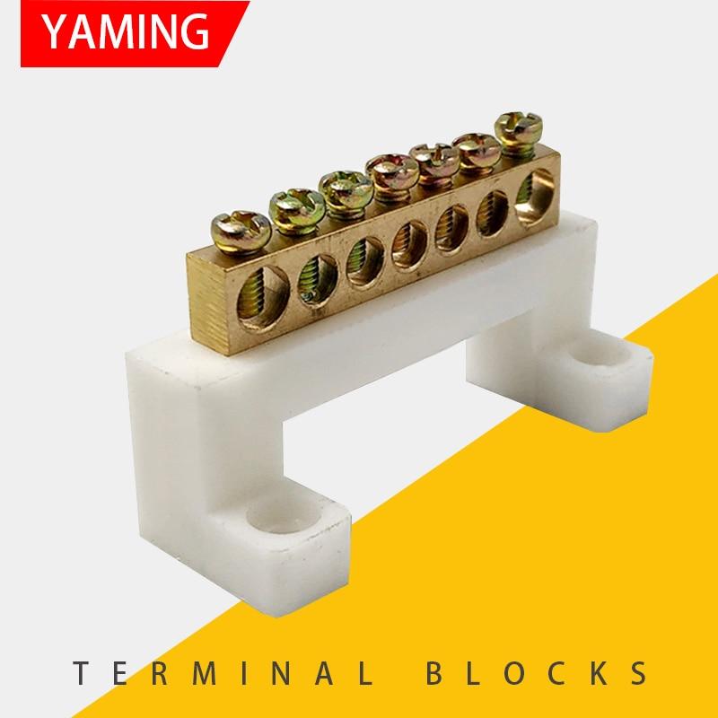 5 Positions Ground Wire Bridge Design Terminal Block Connector Bar 2 Pcs