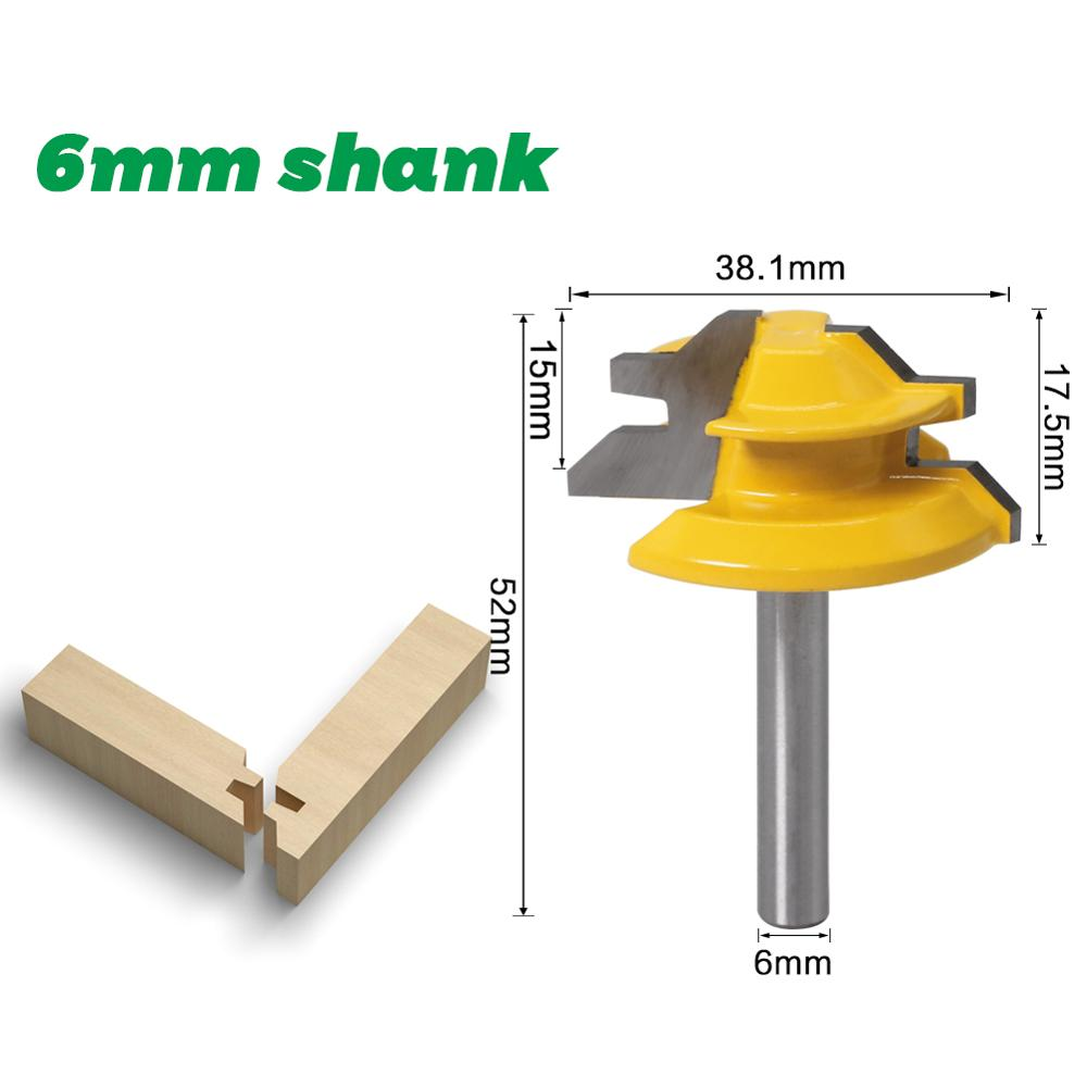 1Pc 45 Degree Lock Miter Router Bit 6mm 1/4