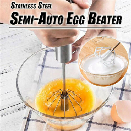 Manual Self Turning Kitchen Stainless Steel Milk Egg Mixer Beater Stirrer Whisk*