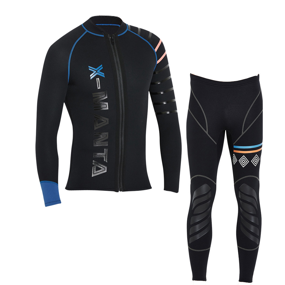 Diving Wetsuit Jackets-Pants Sail Surfing Scuba-Jump Dive Long-Sleeve 3mm Men Men's title=