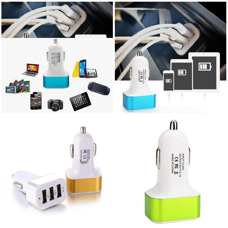 DC 5.0V 2.1A/2A/1A Car Universal 3 Port USB Charger Phone Quick Charge USB Cigarette Lighter Adapter