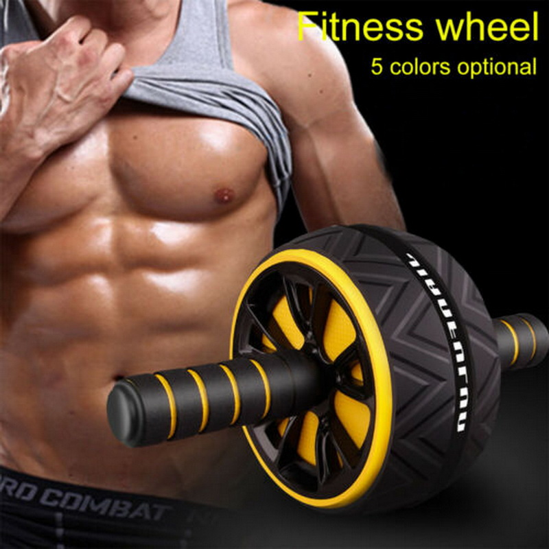 Sport - Best Large Silent Abdominal Wheel Roller Trainer Fitness Equipment Gym Indoor Home Exercise Body Building ABS Roller