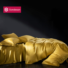 Sondeson Luxury Beauty Yellow 100% Silk Bedding Set Silky Double Queen King Duvet Cover Set Flat Sheet Pillowcase Quilt Cover