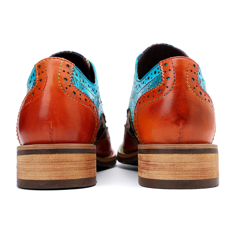 2020 New Spring Casual Women Brogues Shoes Handmade Genuine Leather Women Flats Oxfords Shoes Retro Carved Lace Up  Lady Oxfords (16)