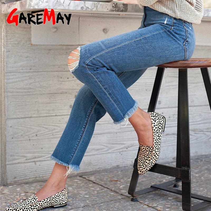 GareMay jeans woman ripped jeans for women blue loose vintage female fashion women new style  jeans womens pants casual jeans