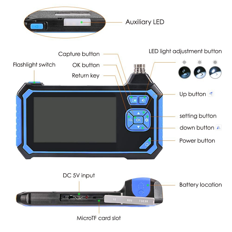 Endoscopio Wireless Impermeabile Telecamera Di Ispezione Wireless Da 5,5 Mm 1080P Con Schermo Da 4,3 Pollici HD IOS Impermeabile IP67 Con 6 Luci A LED Batteria Da 1700 Mah Per Android Windows,5M