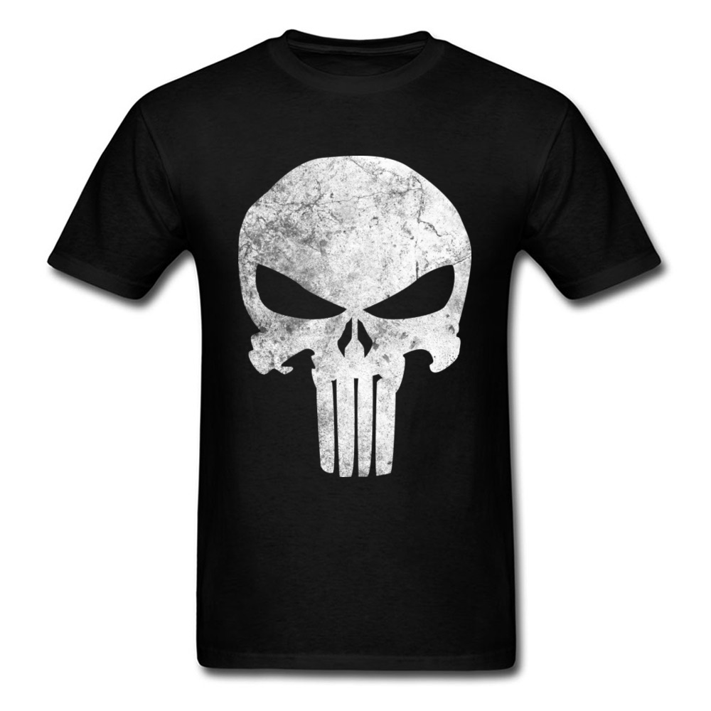 Slim Fit Men T-Shirt Punisher_Skull_Grunge_97 Print T Shirt Cotton Short Sleeve Printed On Tee-Shirt Crewneck Free Shipping Punisher_Skull_Grunge_97 black