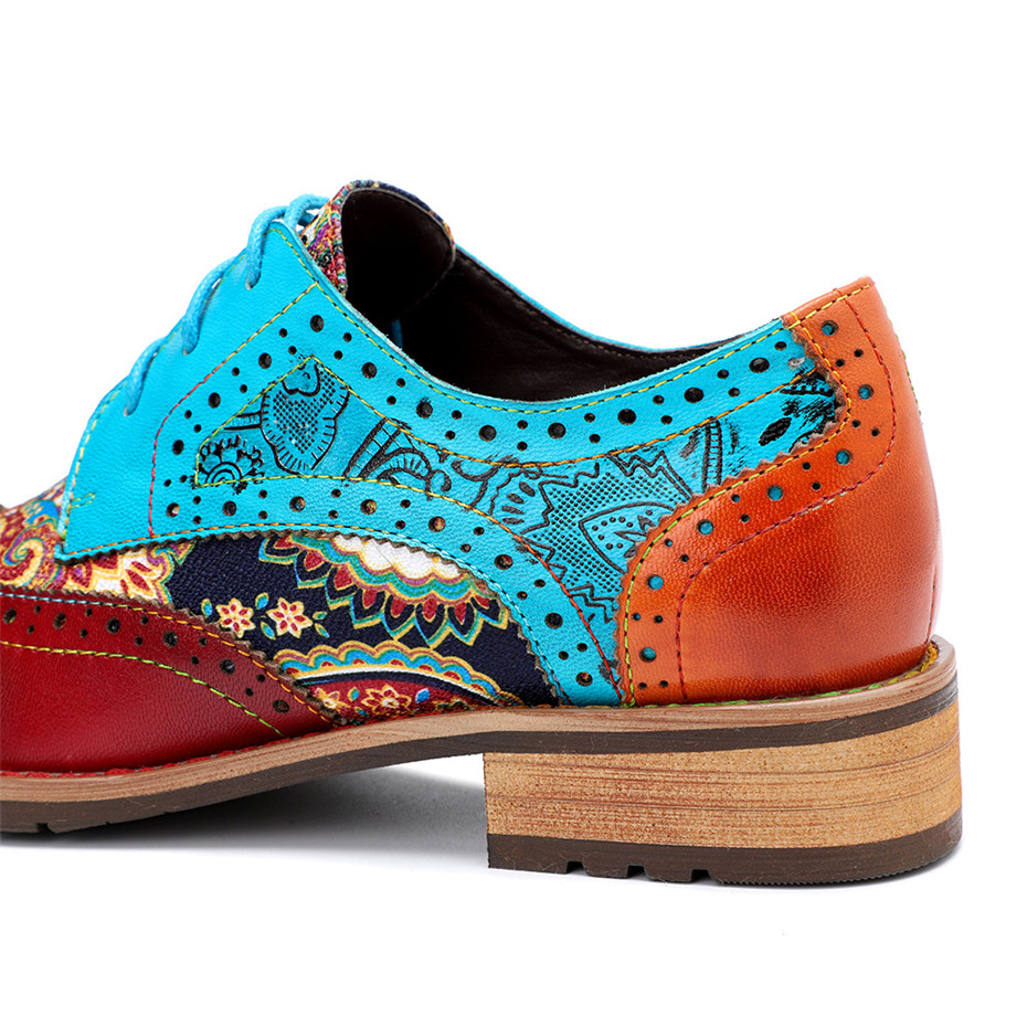 2020 New Spring Casual Women Brogues Shoes Handmade Genuine Leather Women Flats Oxfords Shoes Retro Carved Lace Up  Lady Oxfords (13)