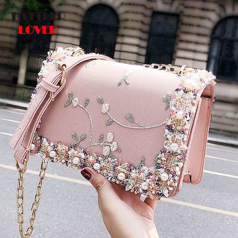 Lace Flowers Womens Bag 2019 New Handbag High Quality PU Leather Sweet Girl Square Bag Flower Pearl Chain Shoulder Messenger Bag
