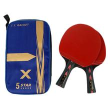 Racket-Set Paddle Carbon-Table-Tennis Ping-Pong Powerful with Good-Control 5-Star 2pcs
