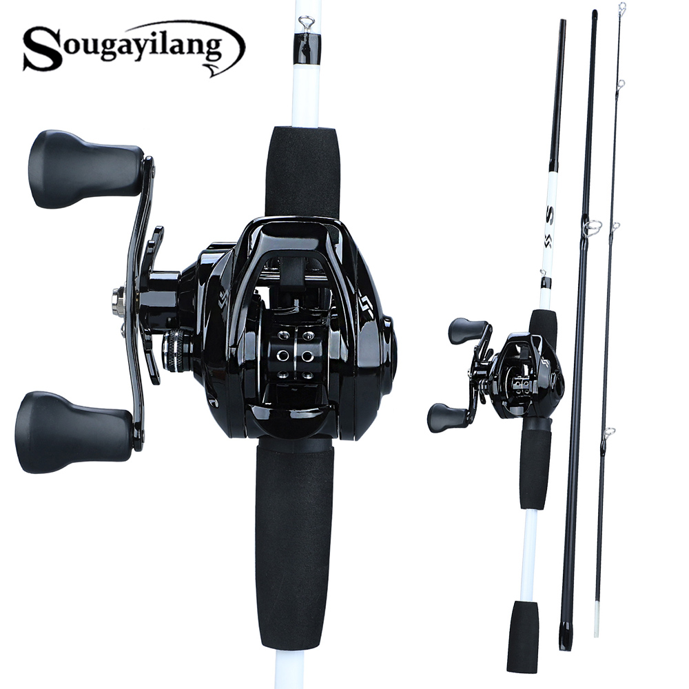 Sougayilang Fishing-Rod-Combo Baitcasting Reel 1BB With12 3-Section Portable title=