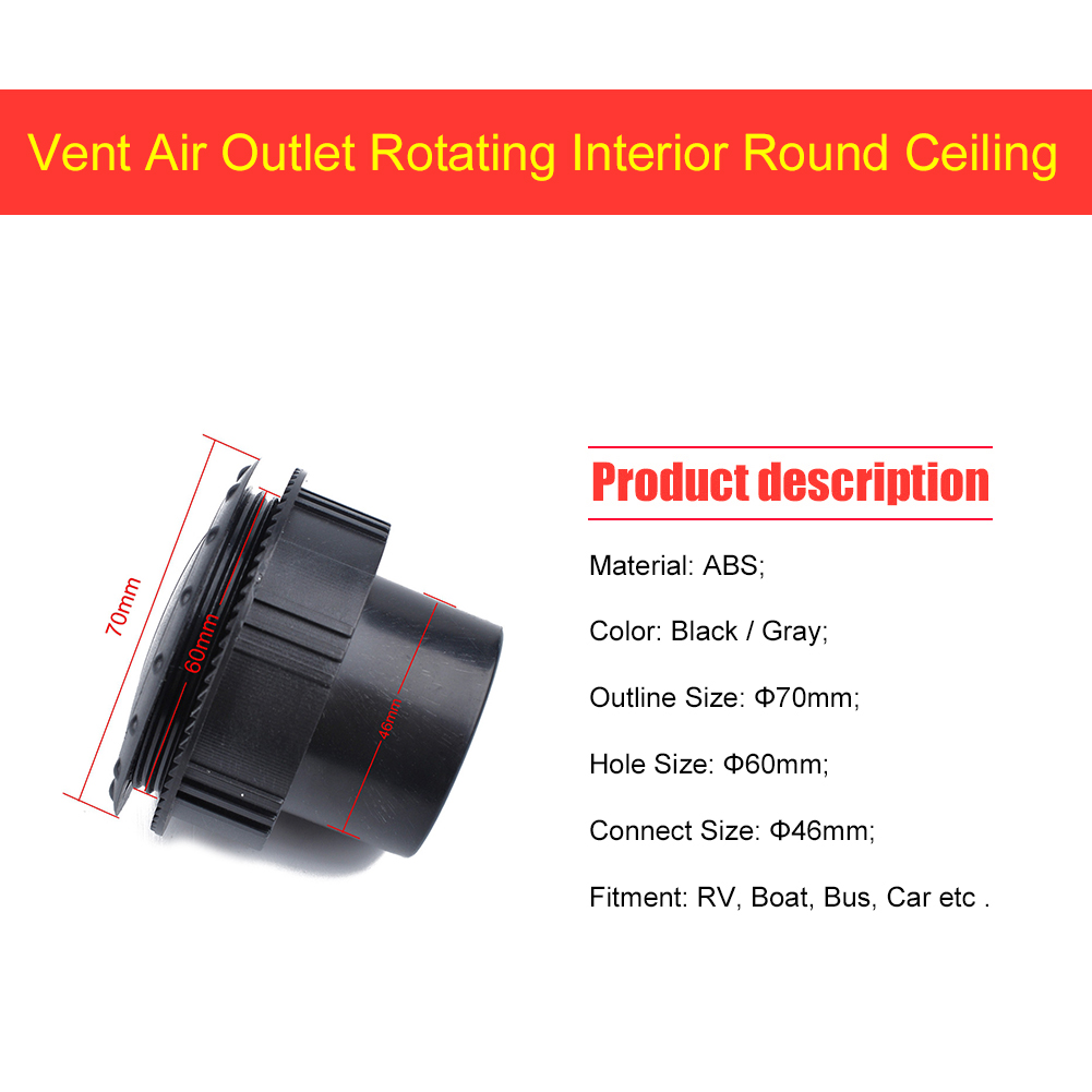 irene inevent 60mm Car RV ATV A//C Air Conditioning Vent air Vent Outlet Rotating Outlet Tab Clip Rotating Interior Round Ceiling