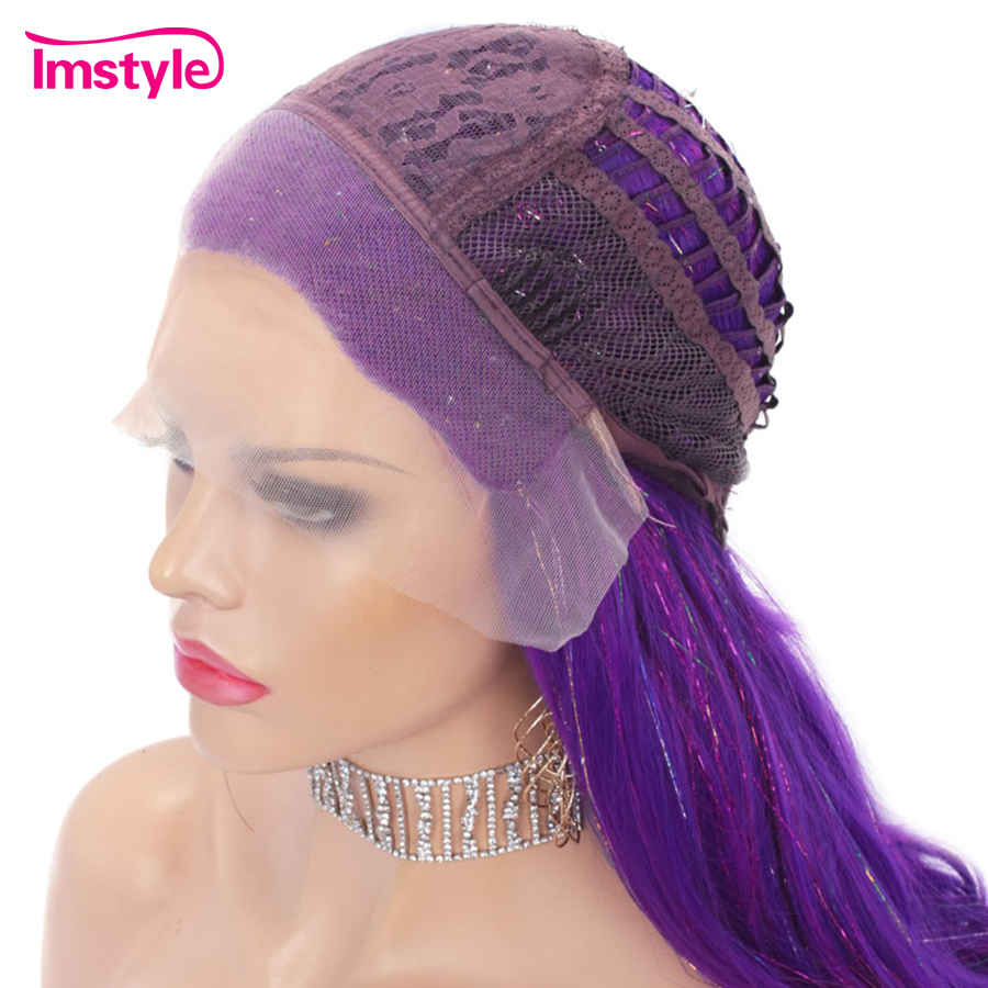 Imstyle Tinsel Wig Purple Synthetic Lace Front Wig Natural Wavy Long Wigs For Women Glitter Hair Party Wig