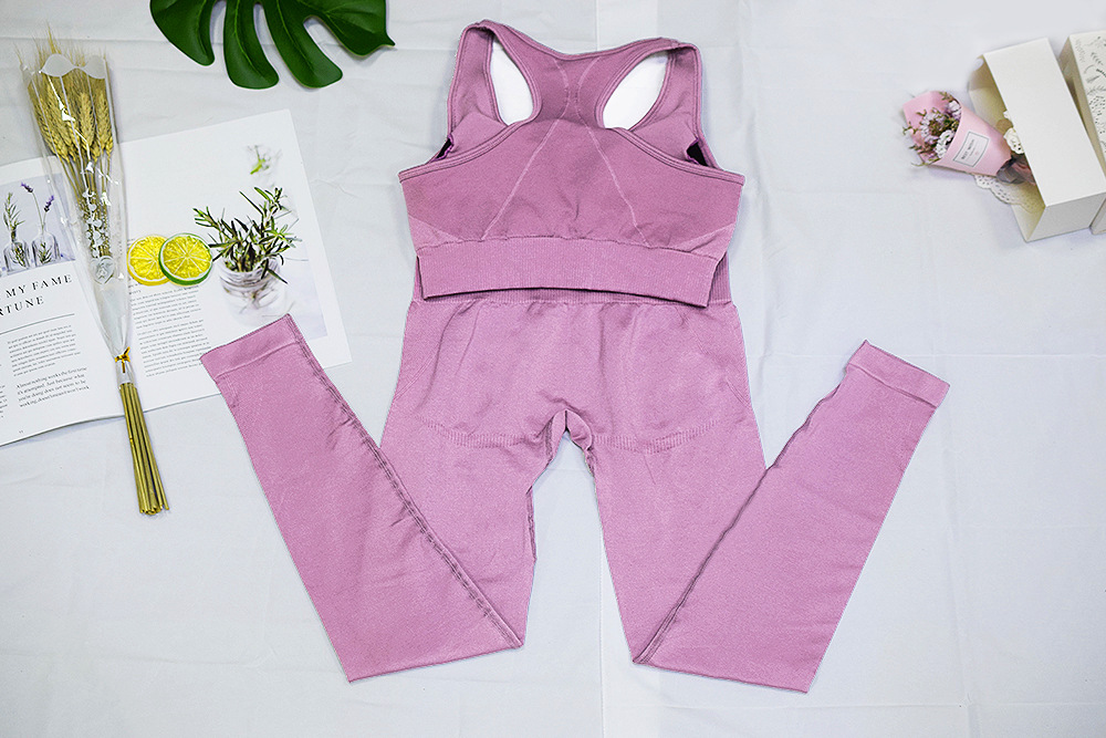 Women's 2 Piece Tracksuit Workout Outfits - Seamless High Waist Leggings and Stretch Sports Bra Yoga Activewear Set
