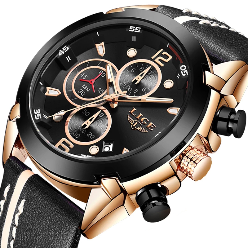 2020 Activity LIGE Fashion Men Watch Top Brand Luxury 30ATM Waterproof Sport Chronograph Quartz Watch Men Relogio Masculino