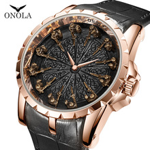 ONOLA brand unique quartz watch man luxury rose gold leather cool gift for man watch