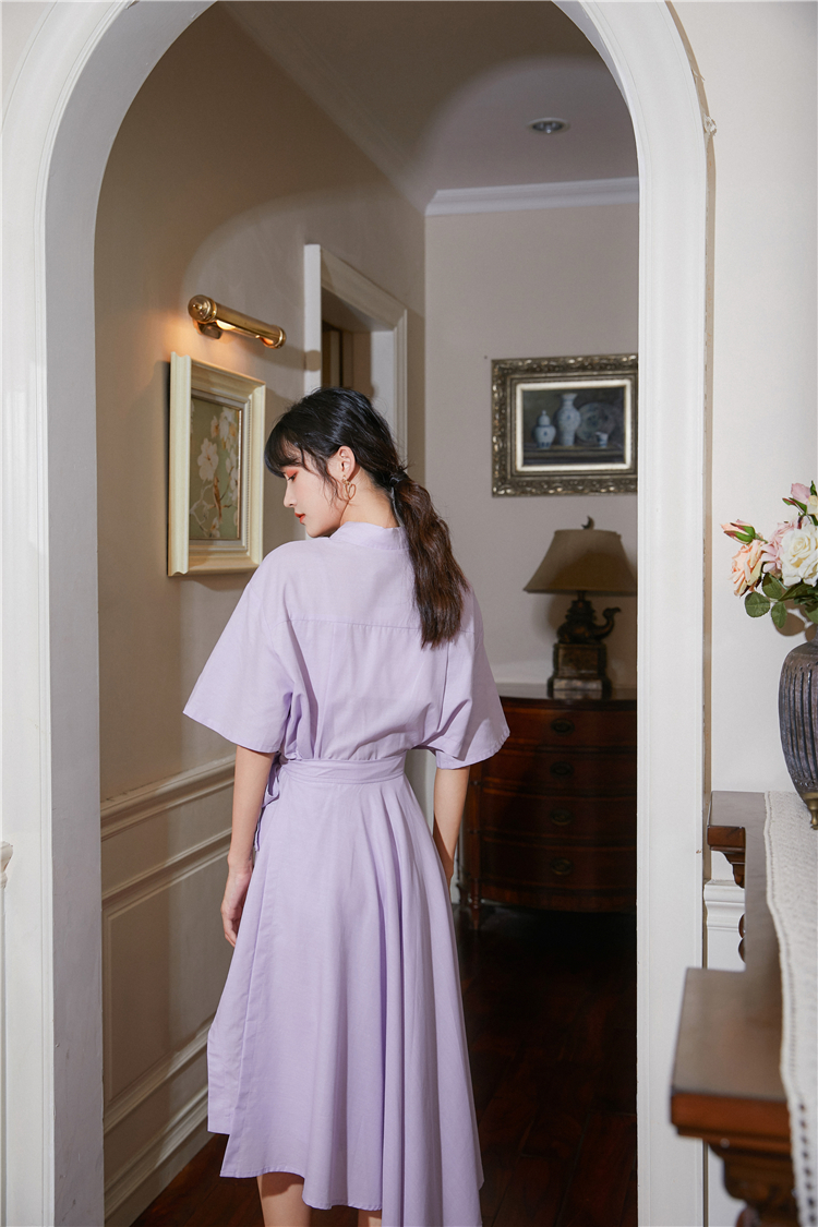 Hd1fa52a0a32945e091e7ea87d4f7f1014 - Summer Korean Turn-Down Collar Short Sleeves Buttons Lace-Up Asymmetrical Long Shirt Dress