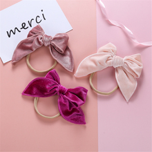 25 Colorful Velvet Hair Bows For Baby Girls Soft Nylon Headbands Bow Headband Elastic Hair Bands Newborn Hair Accessories Gift