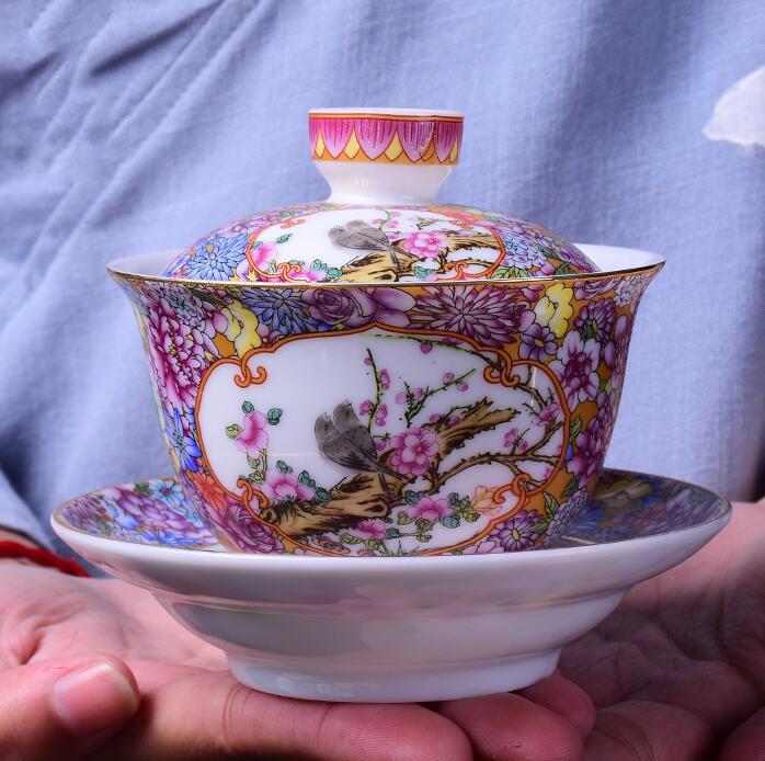 LINFA Set da t/è Gaiwan Tazza da t/è Sancai in Ceramica Bianca Kai Fu Bianca in Ceramica Gaiwan 110 ml
