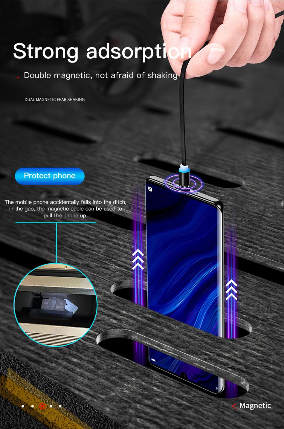 ACCEZZ 3合1磁性电缆,带整理盒,适用于iPhone XS XR 11 Pro Max Micro Micro C型磁铁充电器电缆(9)