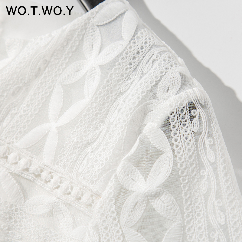 2019 White Floral Lace Blouses Women Spring Casual Hollow Out Half Sleeve O-Neck Tops Female Embroidery Blusas Harajuku