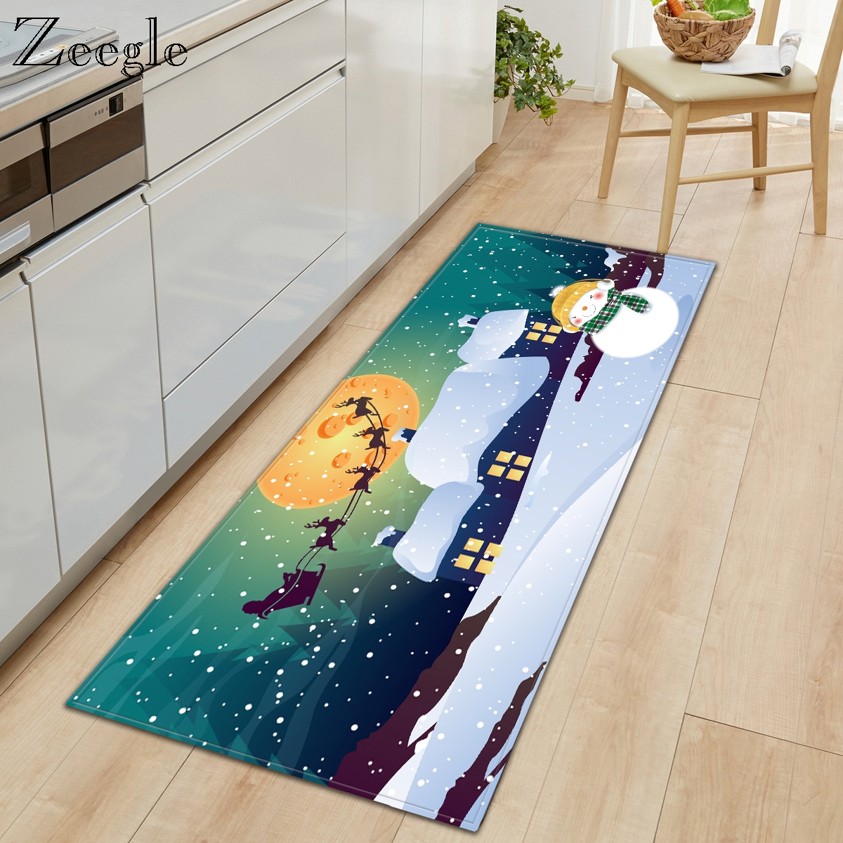 Zeegle Christmas Carpet Anti-slip Kitchen Rug Bathroom Doormat Shower Mat Hallway Carpet Absorbent Living Room Floor Rug Carpet