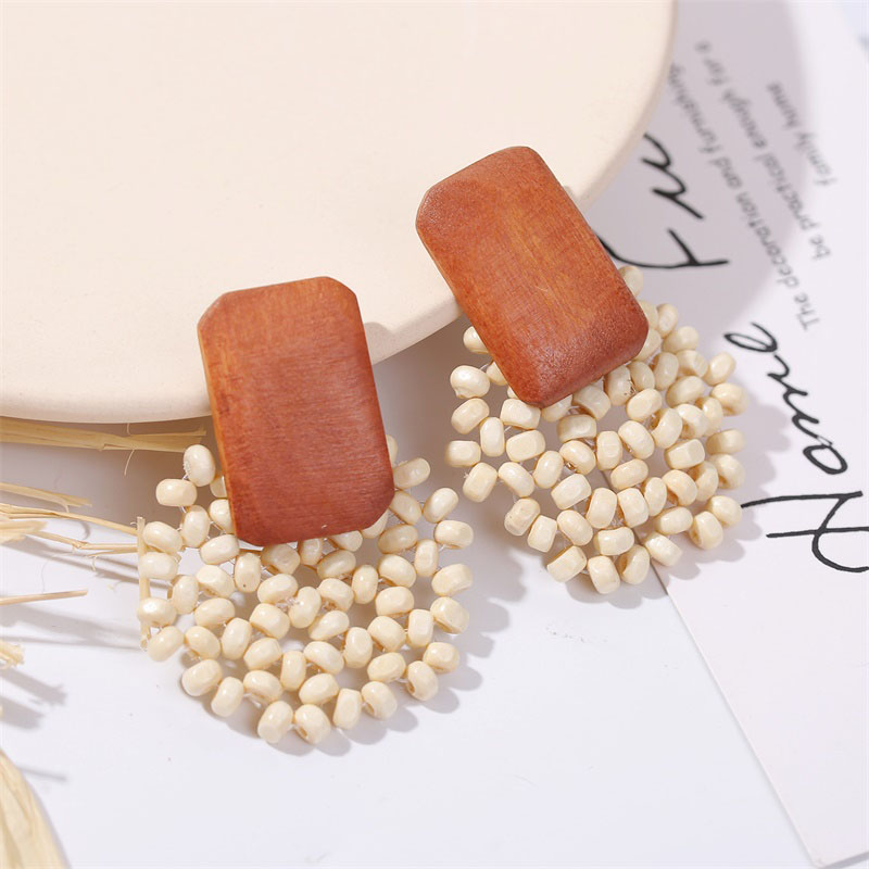 19 Fashion Boho Round Square Geometric Wooden Drop Earrings For Women Bohemian Vintage Wood Beaded Dangle Earring Jewelry Gift 14