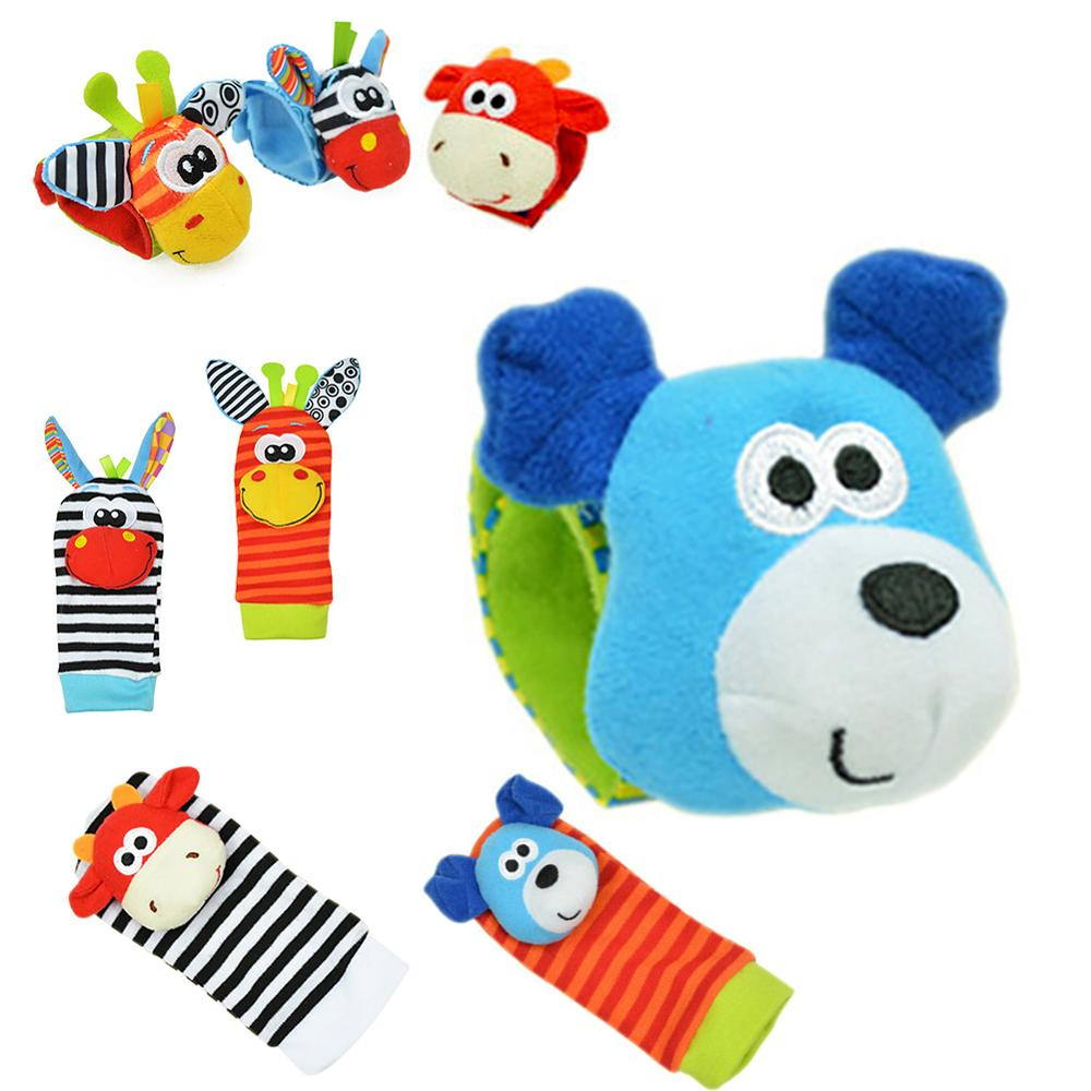 Hot Baby Soft Plush Hand Bell Rattle Wrist Sock Toys Cartoon Early Education G