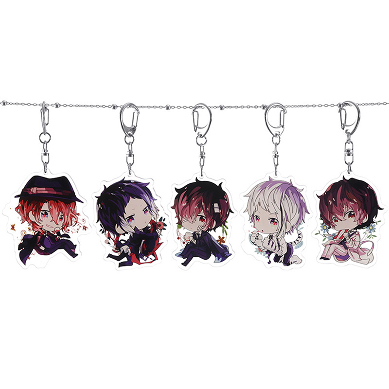 Anime Key Chain Bungo Bungou Stray Dogs Keychain Rubber Strap Tsumamarekko Dazai Atsushi Ranpo Akutagawa Chuya