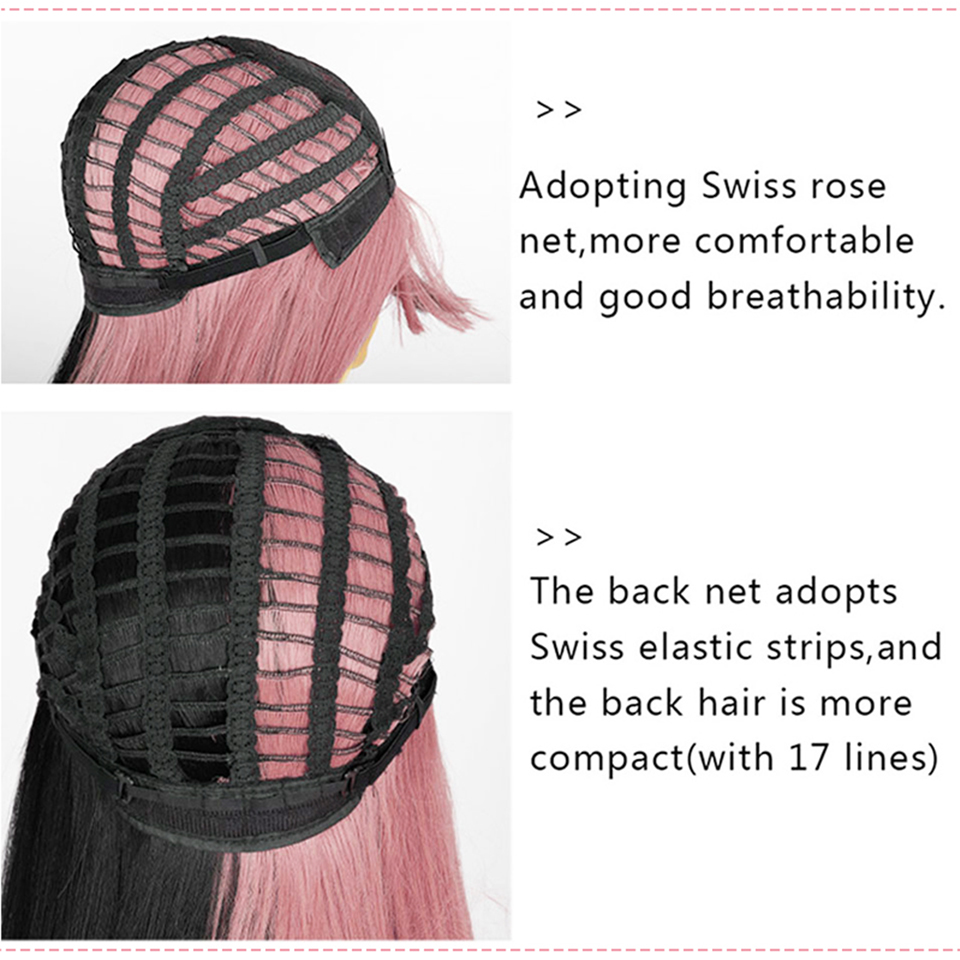 Pink and Black Wig Long Straight hair Cosplay Wig Two Tone Ombre Color Women Synthetic Hair Wigs