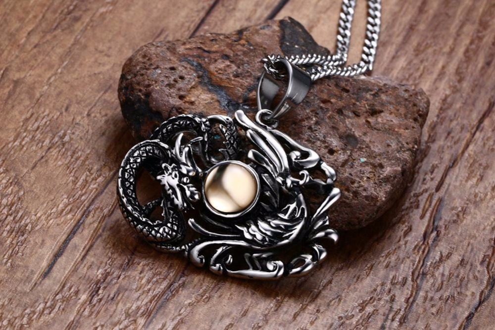 Chinese Feature Mens Necklaces Stainless Steel Dragon and Phoenix Pendant Necklace Men Vintage Punk Bike Jewelry Accessories collares collier colar choker 16