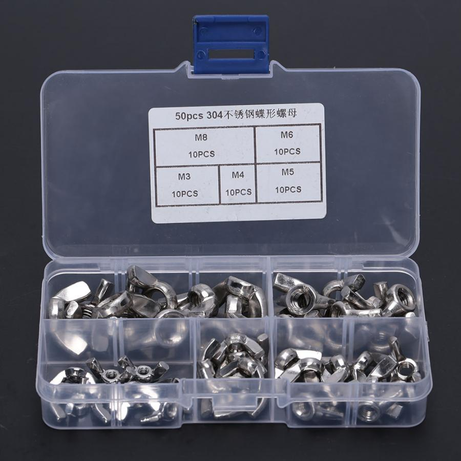 M8 8mm Thread Stainless Steel Wingnut Butterfly Wing Nuts 24pcs