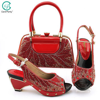 2020 Newest African Italian Design Red Color Nigerian Fashion Crystal StyleLadies Shoes and Bag Set for Party Wedding