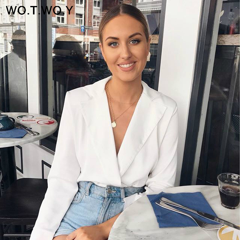 Deep V-Neck White Blouses Women Casual Long Sleeve Blouse Shirts Women Chic Slim Tops Blusas Female Spring Autumn New