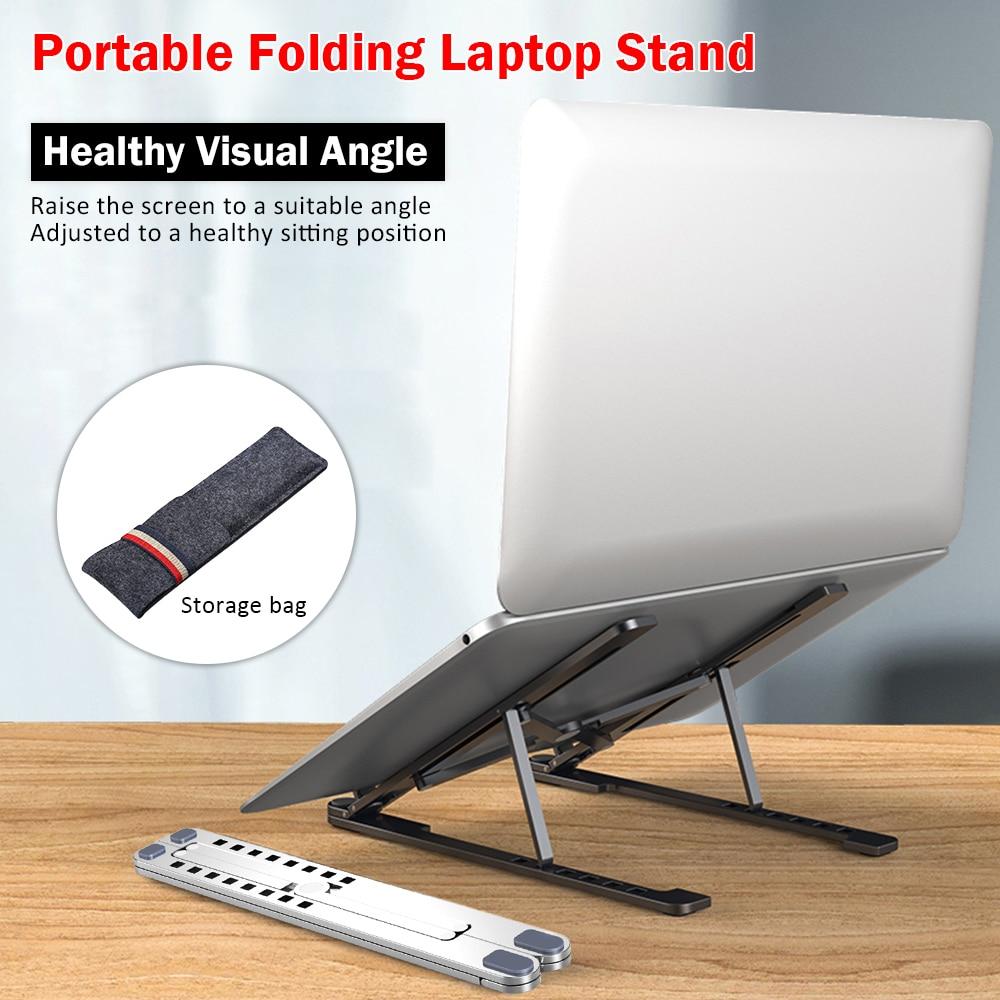 Miwaimao Laptop Stand Adjustable for Desk,Adjustable Portable Laptop Stand,Folding Portable Laptop Stand Height Adjustable Aluminum Alloy Bracket,Blue