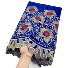 Lace-Fabric Embroidery George African Party-Dress Blue Red-Color High-Quality for Roayl