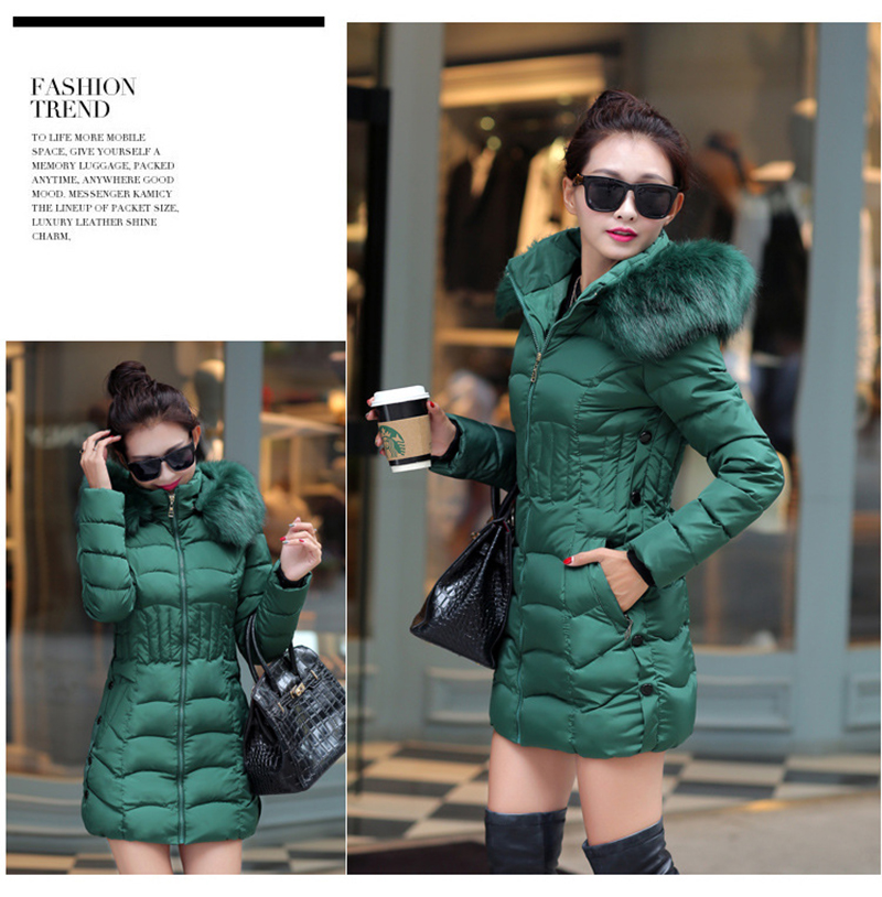 Winter Long Women Coats Parkas Slim Pleated Black Female Coat Outwear Fashion Disassembled Hooded Cotton Women Jackets MLD1271 20