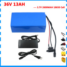 500W 36V 13AH lithium ion battery pack 36V Electric bike scooter bicycle bateria 2600mah 18650 cells 15A BMS Free customs fee