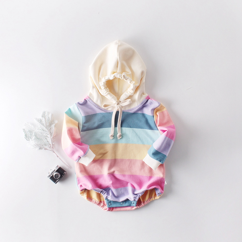 Romper Outwear Playsuit Rainbow-Striped Newborn-Baby Infants Boys Toddler Girls Kids title=