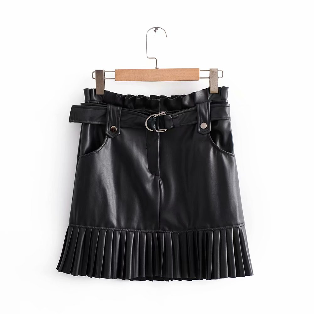 Stylish Chic Pu Leather Mini Skirt with Belt Za Fashion Women High Waist Pleated Hem Skirts Casual Streetwear Party Faldas 4