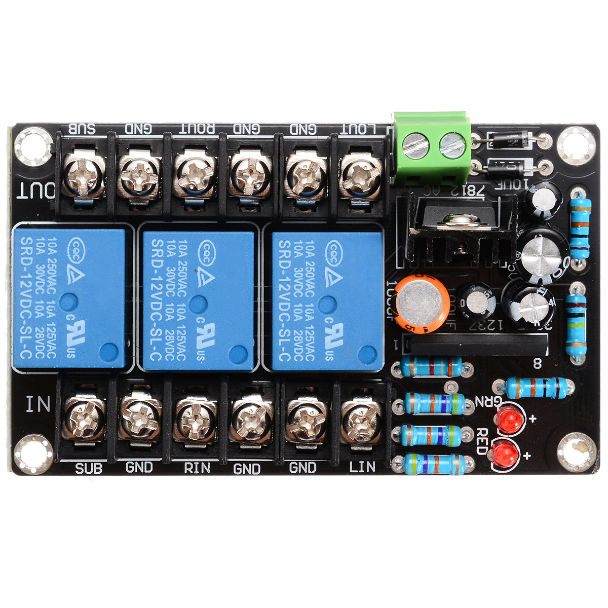 UPC1237 2.1CH 3-Channel Speaker Protection Board with Boot Delay 10A High Power