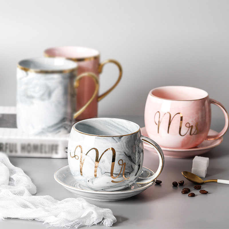 Mr /& Mrs A pair of fine China Marble effect Coloured Mugs
