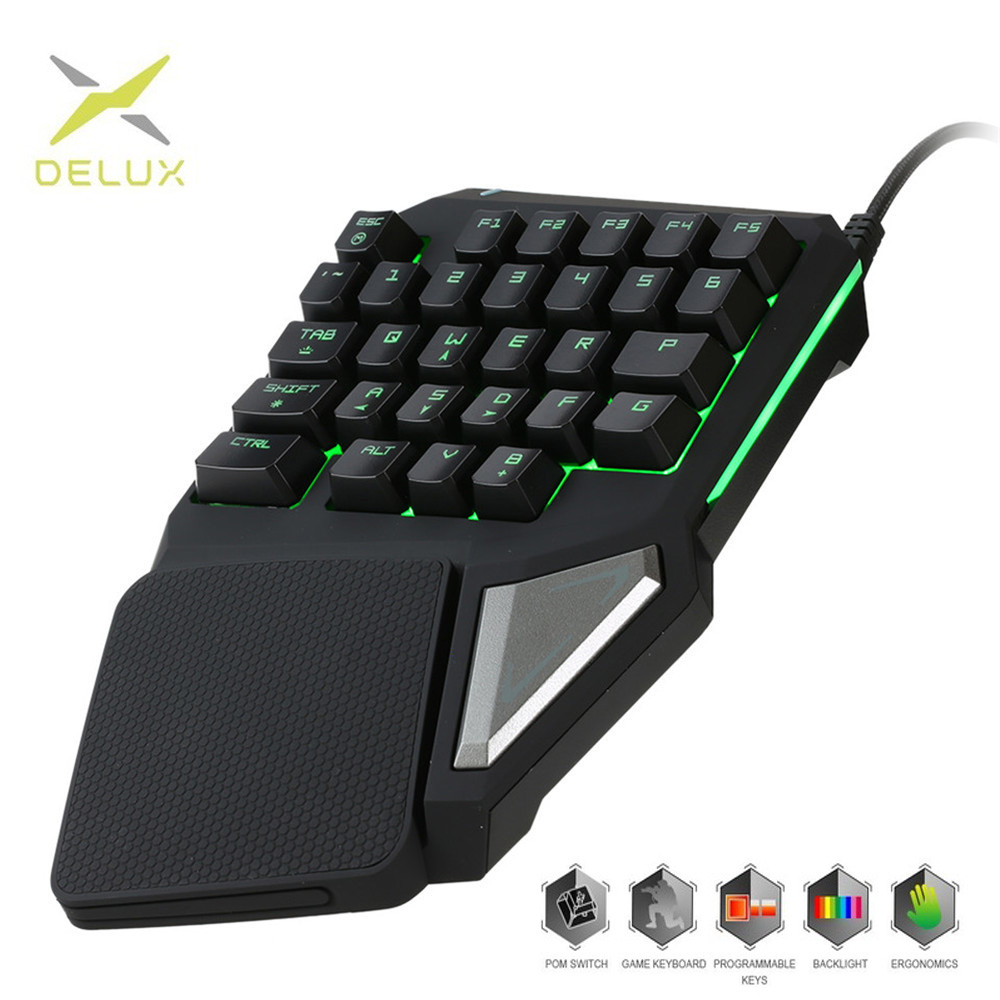 Programmable Keys Delux T9 Pro Single Handed Game keyboard one hand Ergonomic Gaming Keypad For PUBG gun PC Laptop title=